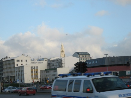 Walking around Reykjavík. The church in the back was and still is the tallest structure in the city.